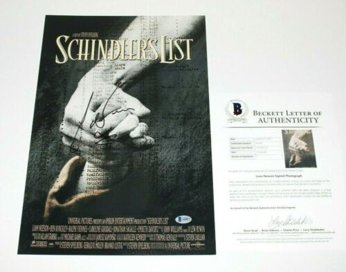 ACTOR LIAM NEESON SIGNED 'SCHINDLER'S LIST' 12x18 MOVIE POSTER BECKETT COA BAS