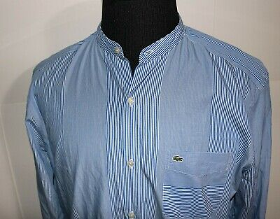 Mens Lacoste Slim Fit Lightweight Long Sleeve Cotton striped Shirt Size 42 XL