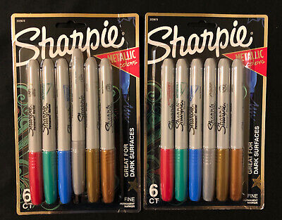 Lot Of 2 Packs Of 6 Sharpie Metallic Colors Fine Point Permanent Markers - 12
