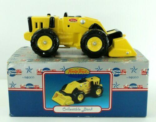 """Yellow Tonka Bulldozer Bank Ceramic Enesco CAT NEW Open Box 10"""" Long"""
