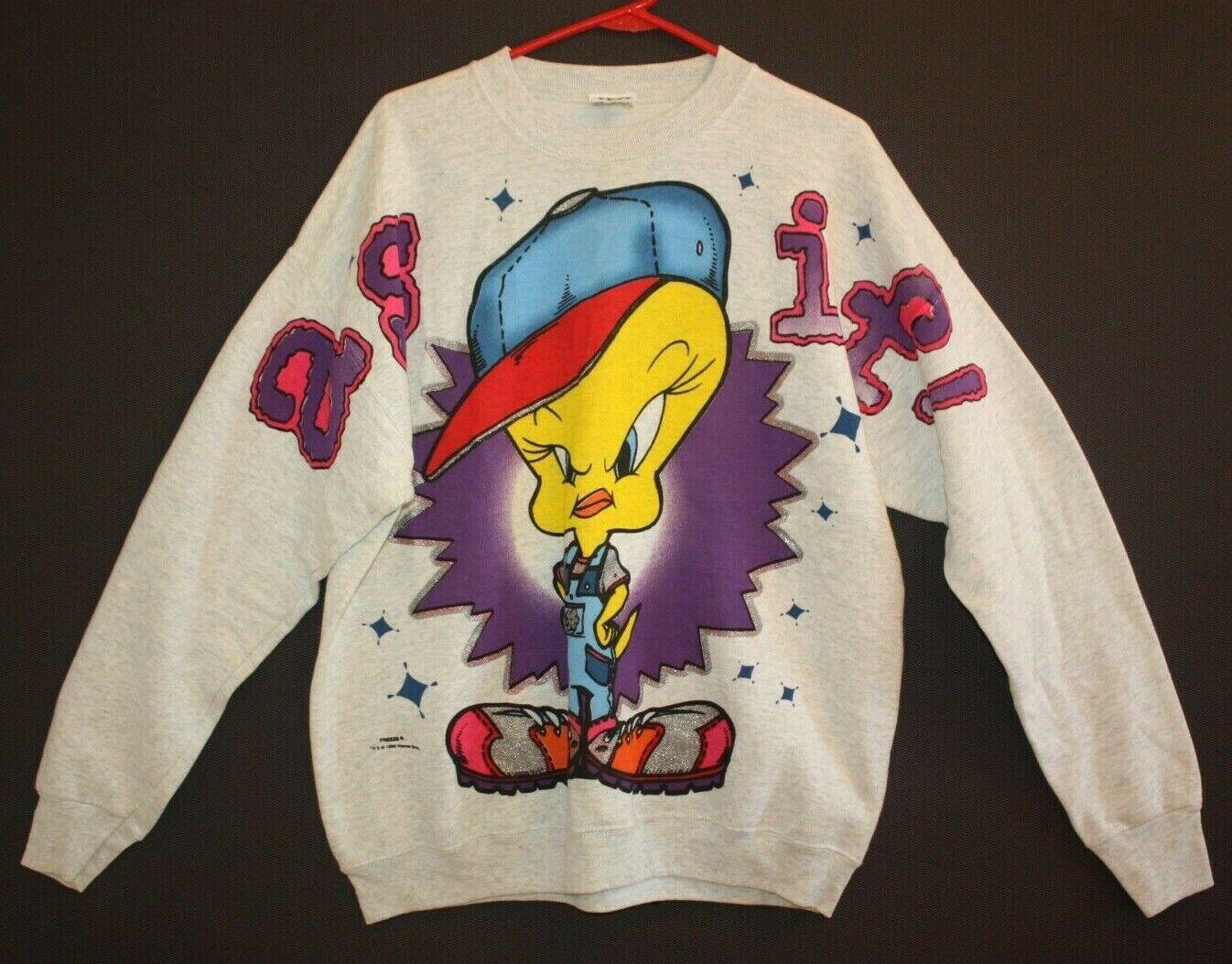 Vtg mcTweety Bird Hip Hop Sweatshirt! 1996 Looney Tunes Warner Bros Freeze NY XL