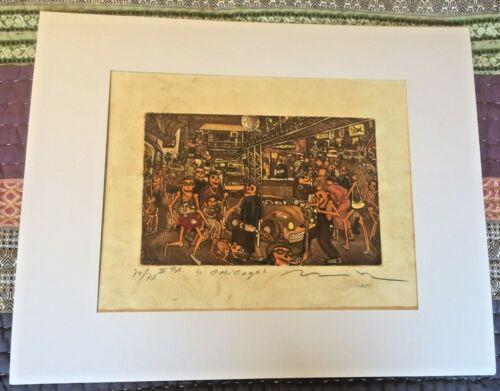 "Rare Nicolas De Jesus ""Chicago"" Colored Amate Etching #70/75"
