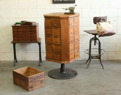 c.1901 Antique Industrial AR Brown Rotating Oak 40 Drawer Hardware Store Cabinet