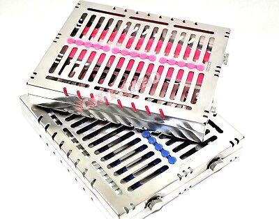 2 Pcs German Dental Autoclave Sterilization Cassette Rack Tray For 15 Instrument