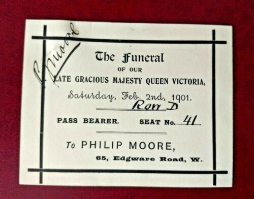 Original 1901 Queen Victoria funeral ticket + Funeral church service leaflet