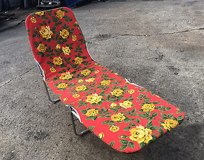 VINTAGE c1970 SUN BED RATCHET RECLINING LOUNGER CHAIR RED SUMMER FLORAL PATTERN