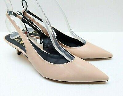 ZARA Woman 37 6.5 Blush Pink Leather Slingback Kitten Heel Dress Heels Pumps NEW