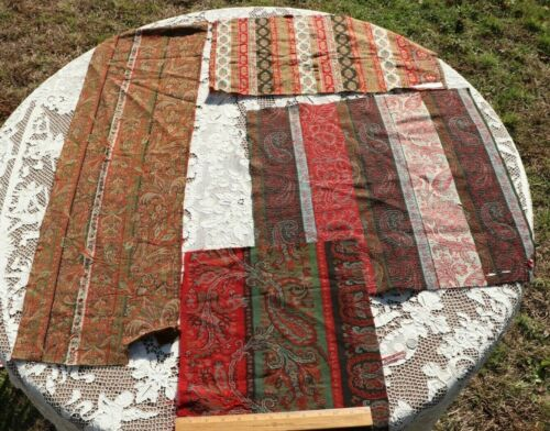 4 Pieces of Antique c1860 Wool Paisley Kashmir Shawl Fabric