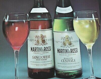 1982 Martini and Rossi Fine Table Wines Italian Dry Red White Vintage Print -