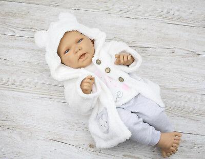 Schickes Babyset 3tlg Jacke Weste Hose Eule Mädchen Weiß 62 68 74 80 Winter Warm