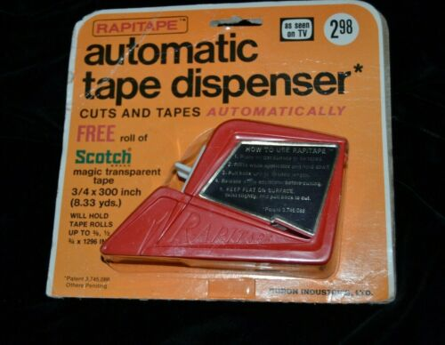 Vintage Tape Dispenser RAPITAPE Automatic Cuts & Tapes