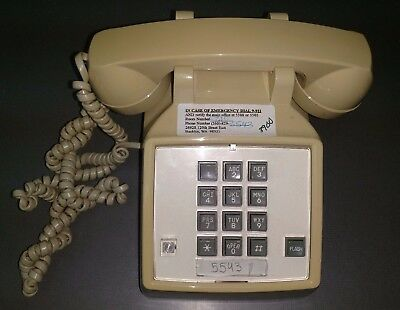 Vintage Cortelco Itt 2500 Cream Beige Tan Single Line Analog Corded Desk Phone