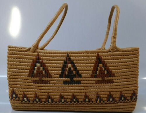 Native Coast Salish Hand Woven Handled Basket With Original Bruce Boyd Letter