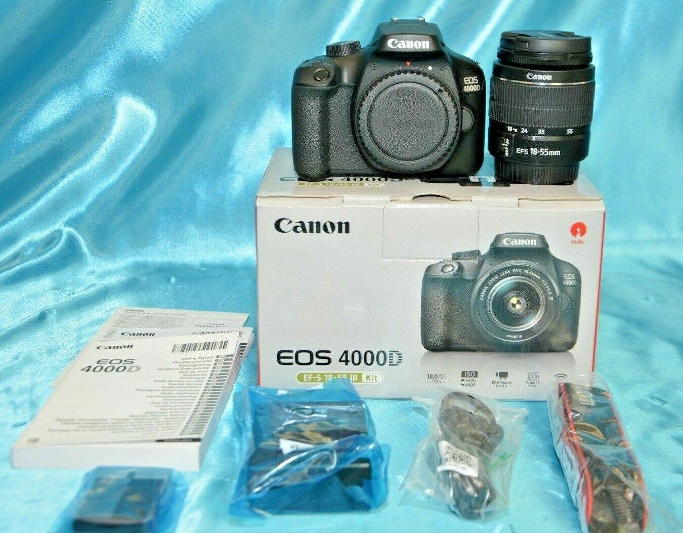 Canon EOS 4000D EF-S 18-55mm DC III Kit Spiegelreflexkamera, Schwarz