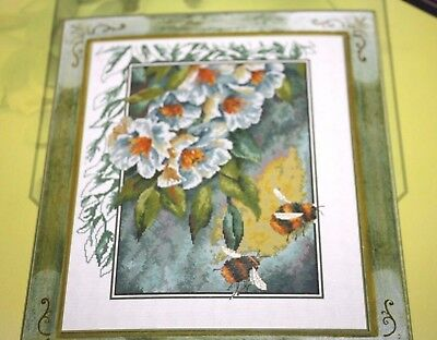 """Used, Honey Bees Cross Stitch Kit Flowers Nature 13"""" x 16"""" New in Package  --PPX= for sale  Chambersburg"""