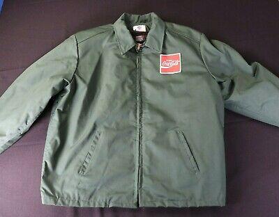 VTG Coca Cola Full Zip Work Jacket Mens M 46L Green Riverside USA Coke Coat