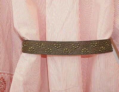 Abercrombie & Fitch Belt Womens S Brown Leather Studded Embroidered Western Boho