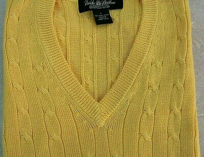 BROOKS BROTHERS Country Club  Sweater Vest Cable Knit Yellow Mercerized Cotton L