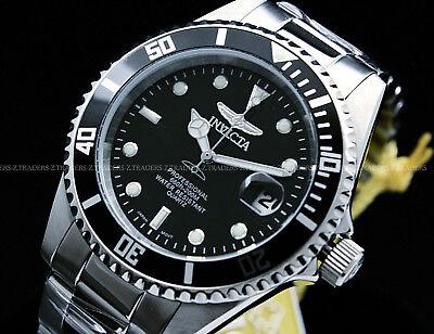 NEW Invicta MenPro Diver COIN EDGE bezel Black Dial 200 Meter S.S Bracelet Watch Black Dial Black Meter