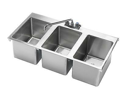 "Krowne Metal HS-3819 3 Compartment Drop-In Hand Sink w/ 12"" Spout Faucet"