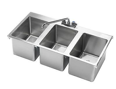 Krowne Metal Hs-3819 3 Compartment Drop-in Hand Sink W 12 Spout Faucet