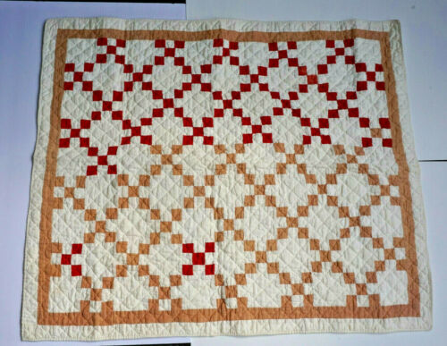 Antique Baby // Doll Quilt  32 x 27 Red Beige and White