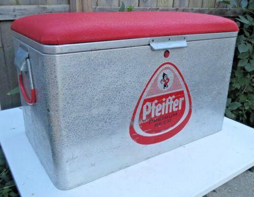 Vintage Pfeiffer Beer Cronstroms Aluminum Cooler Ice Chest Padded Seat RARE