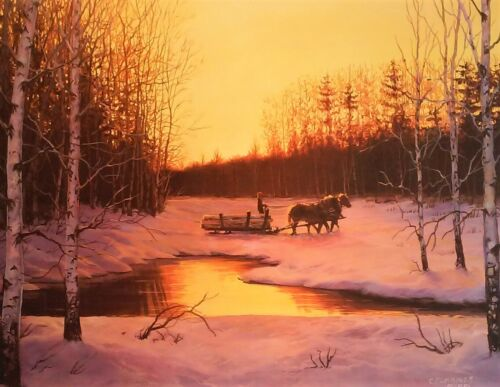 CHRIS CUMMINGS SIGNED OUT OF PRINT Horses creat a peaceful moment of solitude