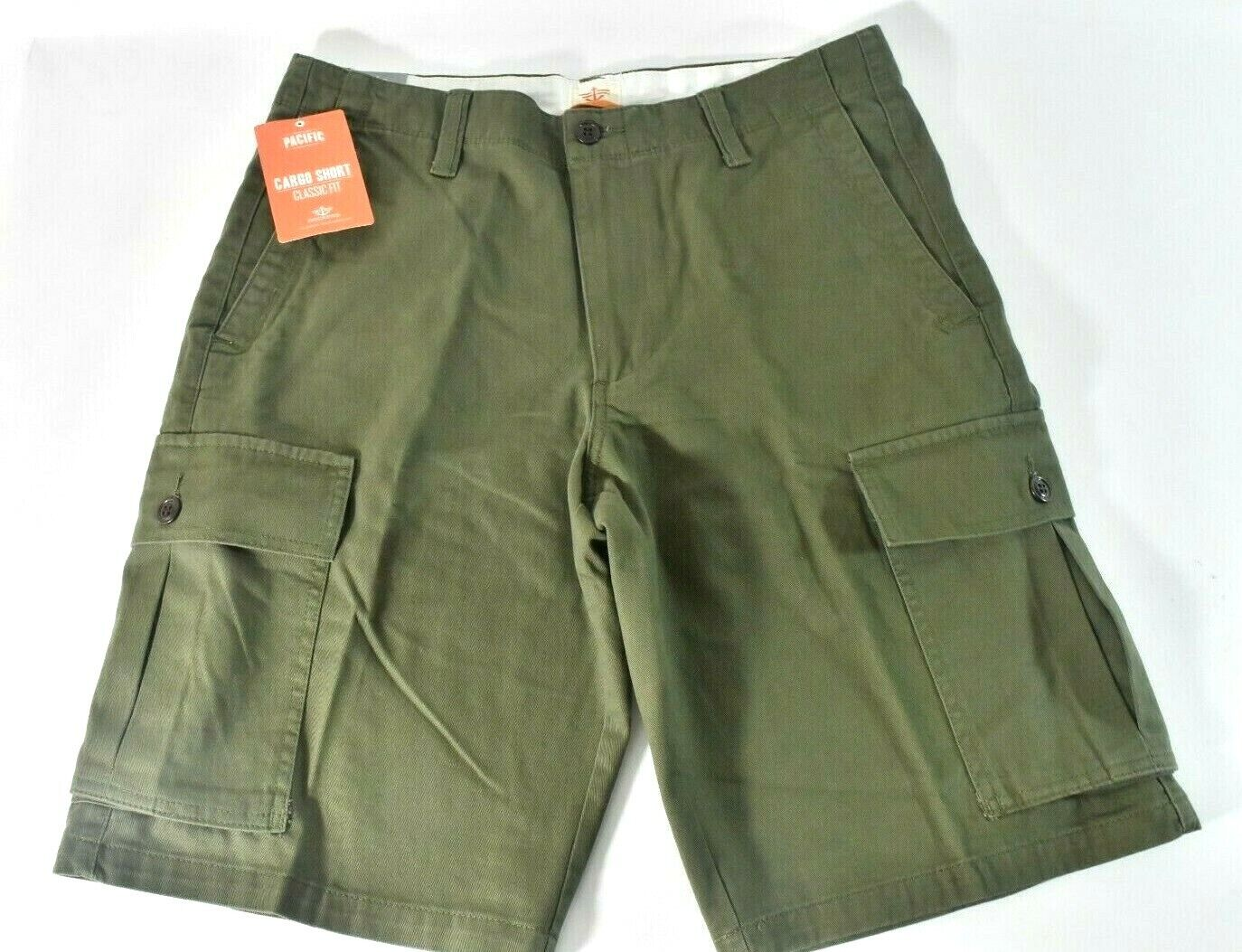 Dockers Mens Cargo Shorts New 32 Green Classic Fit Flat Fron