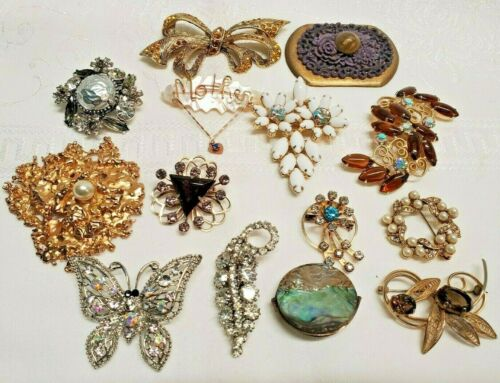 Vintage Costume Jewelry 14 pc. Mixed Lot Good Condition Unsigned