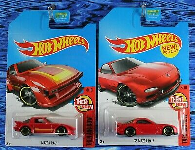 2017 Hot Wheels Mazda RX-7 and 95 Mazda RX-7 Red Then & Now 2 Car Lot Kmart Exc.
