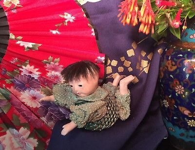 NR RARE Meiji Auth19thC Japan Gofun Sewing Pin Basket baby Doll Ningyo Ichimatsu