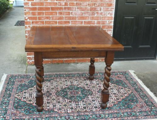 English Antique Oak Barley Twist Draw Leaf Kitchen Table