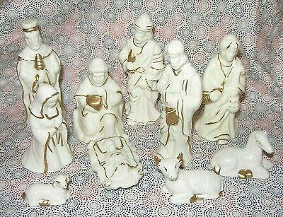 10 Piece Nativity Scene Set White Porcelain Gold Colored Trim Christmas