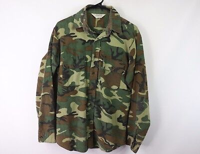 Vintage 70s Five Brother Mens Medium Camouflage Full Button Flannel Shirt Green