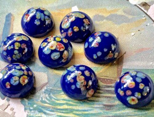 Vintage Millefiori Cabochons,Glass Millefiori Lot Japan Colorful 10mm Blue #1726
