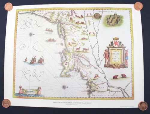 The New Netherlands and New England 1635 Willem Blaeu American Heritage 24 x 18