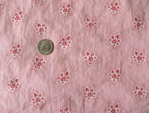 "Antique c1840-60 French Pink Floral-Leaf Cotton PIllow Sham/cover~23""Square"
