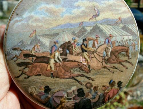 Antique, ORIGINAL,old time horse racing PRATTWARE pot lid..super detail & colors