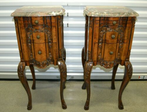 Antique French Marble Top Nightstands Bedside Tables Carved Louis XV Style Pair