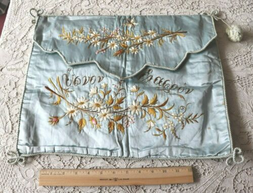 "Antique c1880 Hand Embroidered Floral On Silk Blue Lingerie Case~L-14""X W-17"""