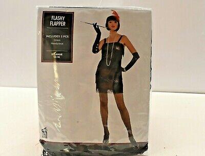 Flashy Flapper Adult Halloween Costume 2 Piece Dress & Hair Piece XL 14-16