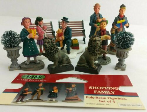 Lemax Christmas Village Figures Shopping Family Lions Topiary Bench 11pc (3B1)
