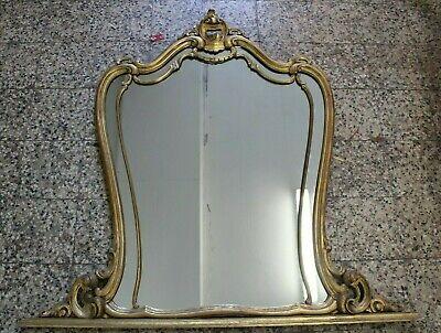 Grande Specchiera Specchio con Cornice in Legno Dorata Vintage D'epoca Antico