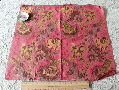 "Antique Floral 18thC (c1770) French Silk Metallic Brocade Sample Fabric~19""X20"""
