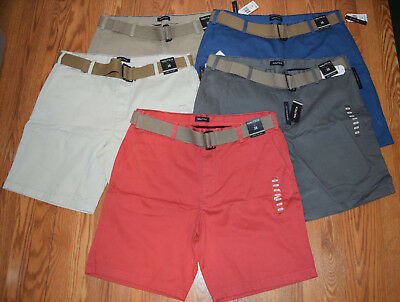 NWT Mens NAUTICA Belted Above Knee Red Khaki Blue Gray Shorts 32 34 36 38 40 42