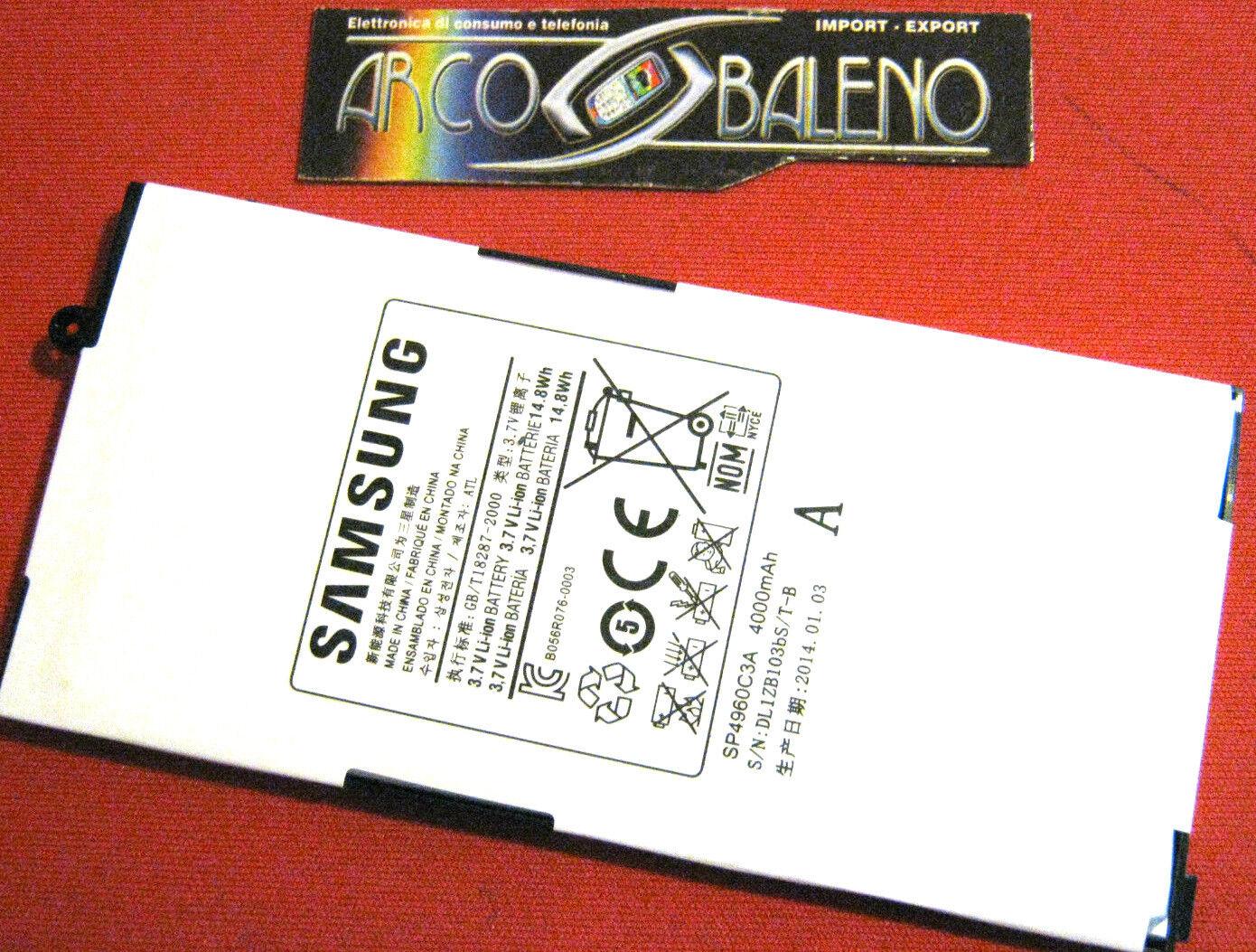 "BATTERIA 4000Mah ORIGINALE SAMSUNG GALAXY TAB 7"" GT P1000 P1010 TABLET SP4960C3A"