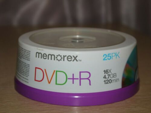 MEMOREX DVD+R Writable Discs 25 Pack 16x 4.7GB 120MIN NEW SEALED SPINDLE