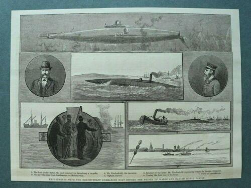 L1e%29+Holzstich+Landskrona+Schweden+1885+Experiment+Submarine+Nordenfeldt+25x19cm