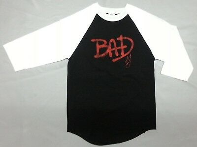 "80'S Retro MICHAEL JACKSON KING OF POP BAD ""WHO'S BAD"" Raglan T-Shirt NEW RARE!!"